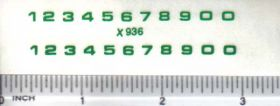 Decal Number Set - Green 1/8in. x 1/8in.