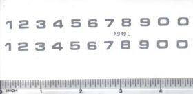 Decal Number Set - Silver 1/4 x 7/32