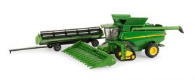 1/64 John Deere Combine S-690 on track with 2 heads & cart