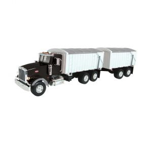 1/16 Big Farm Peterbilt 367 Grain Truck with Pup Trailer black