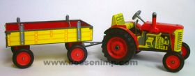 1/25 Zetor Tractor & Wagon Set, Tin Wind Up