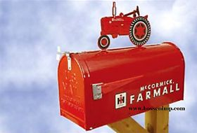 Mailbox Rural Style Farmall with Farmall M Tractor Topper