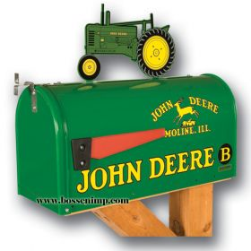 Mailbox Rural Style John Deere with John Deere B Tractor Topper