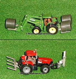 1/64 Bale Fork Double/Pallet Fork, painted w/straw or hay
