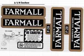 Decal Farmall F-20 Pedal Tractor set