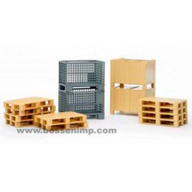 1/16 Accessory Set Pallets, 2 wire baskets & 2 boxes with lids
