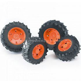 1/16 Accessory Dual Wheels orange for 3000 Series Bruder Trac