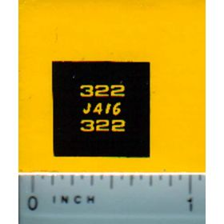 Decal 1/16 John Deere L&G 322 Model Numbers