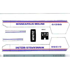 Decal 1/16 Minneapolis Moline G1350 Set with Red & Blue Stripe