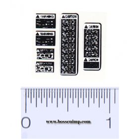 Decal 1/16 Warning Labels -  White, Black