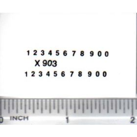 Decal Number Set - Black 1/16in. x 1/32in.