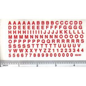 Decal Alpha/Numerical Set - Red 3/16 x 3/16
