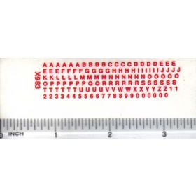 Decal Alpha/Numerical Set - Red 1/16in. x 1/16in.
