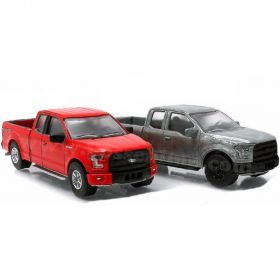 1/64 Ford F-150 2015 2 Truck Set Red & Unpainted