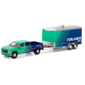 1/64 Chevy Silverado Pickup with Falken Tire Racing Trailer