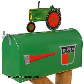 Mailbox Rural Style Oliver with Oliver 88 Tractor Topper