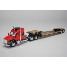 1/64 Kenworth T880 Semi with lowboy trailer Massey Ferguson