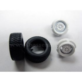 1/64 Truck Tires and rims Front Super single Budd 2 hole rim